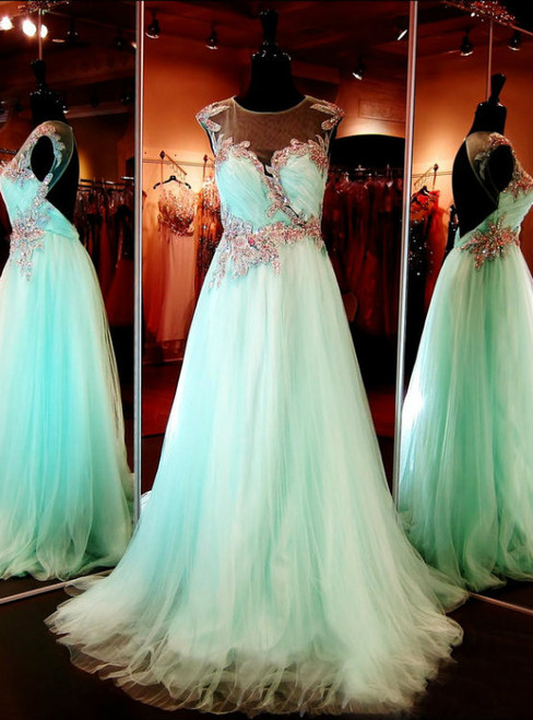 Cap Sleeves Prom Dress Open Back Beaded Tulle Long Aqua Prom Dresses Prom Gowns