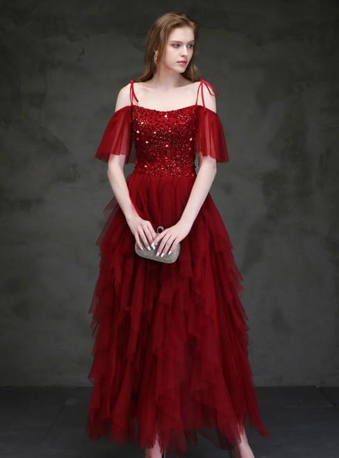 Burgundy Tulle Spaghetti Straps Beading Sequins Ankle Length Prom Dress