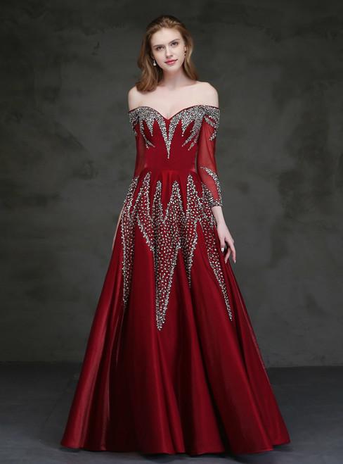 Burgundy Satin Off the Shoulder Long Sleeve Beading Sequins Prom Dress