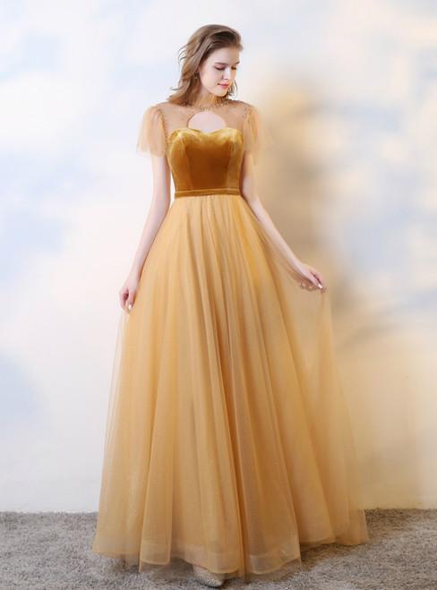 Gold Tulle Velvet Lockhole Beading Illusion Back Prom Dress