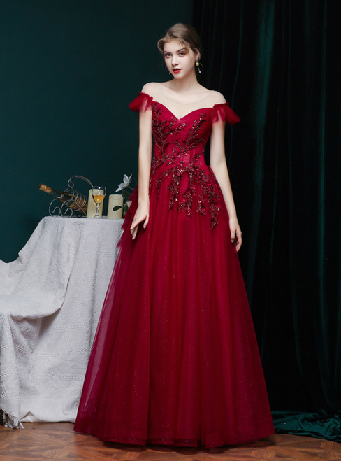 Burgundy Tulle Cap Sleeve Beading Sequins Prom Dress