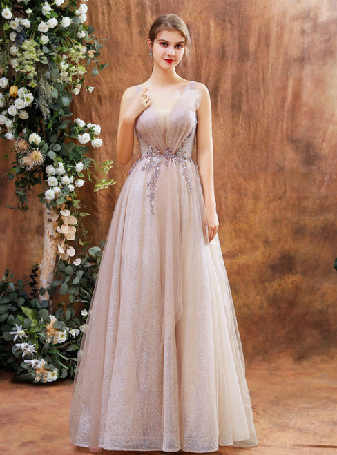 Pink Tulle Sequins V-neck Beading Pleats Prom Dress
