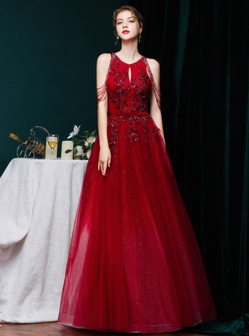 Burgundy Tulle Halter Backless Beading Sequins Prom Dress