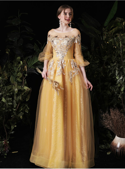 Tulle Sequins Appliques 3/4 Sleeve Gold Long Prom Dress