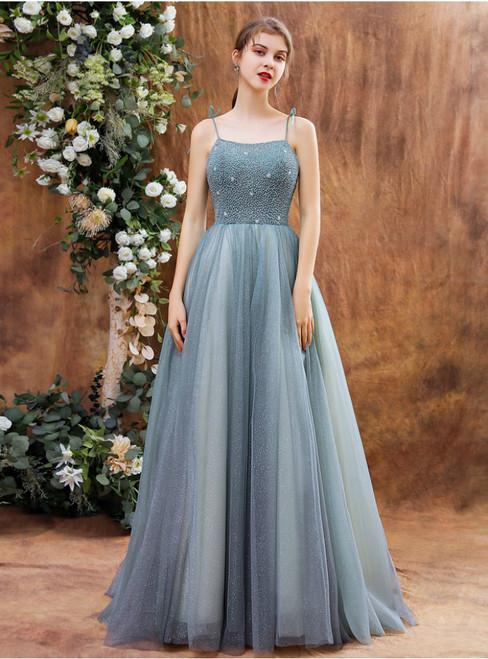 Blue Gray Tulle Spaghetti Straps Beading Formal Prom Dress