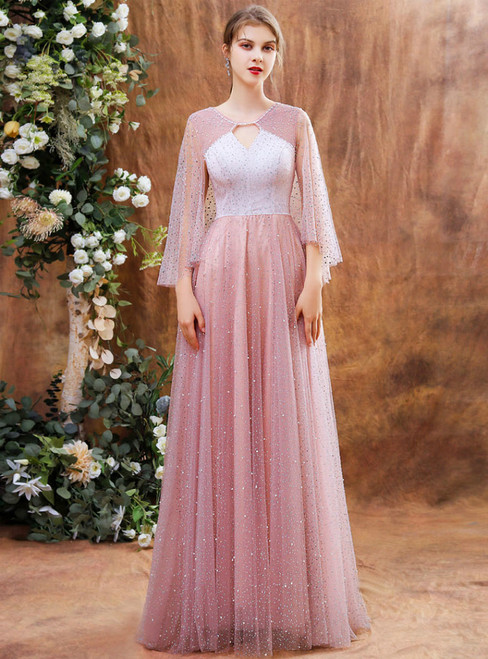 Pink Tulle Sequins Bat Sleeve Lockhole Long Prom Dress