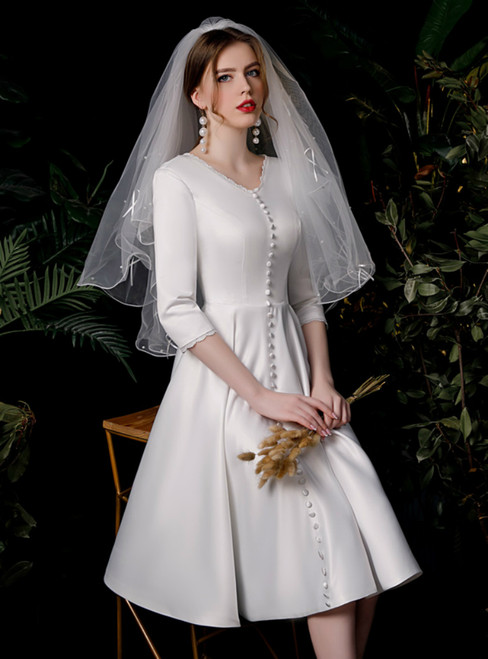 White Satin V-neck Long Sleeve Button Knee Length Wedding Dress