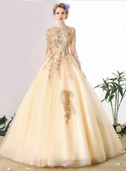 Gold Ball Gown Tulle Long Sleeve Open Back Appliques Beads Prom Dress