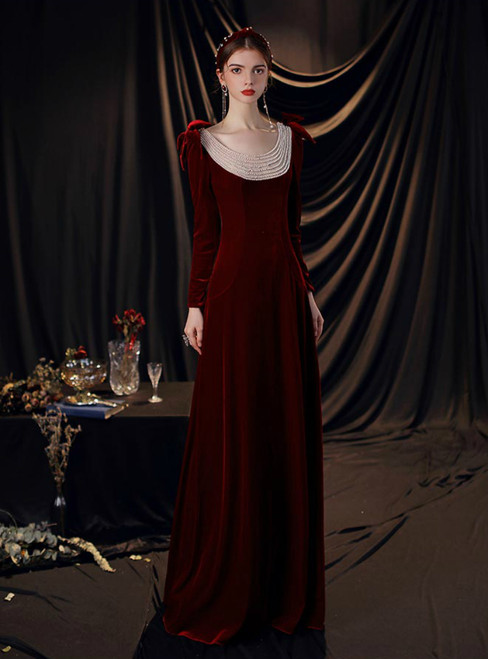 Burgundy Velvet Long Sleeve Backless Pearls Prom Dress