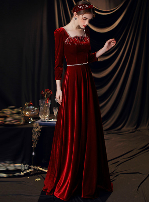 A-Line Long Sleeve Square Burgundy Velvet Beading Prom Dress
