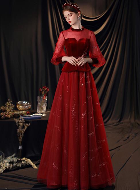 Burgundy Velvet Sequins High Neck Long Sleeve Beading Prom Dress