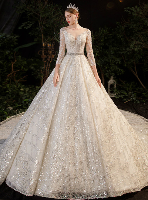 Tulle Sequins 3/4 Sleeve Beading Sash Champagne Wedding Dress