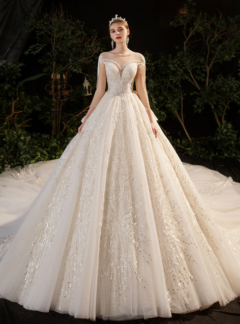 Tulle Sequins Long Sleeve Scoop Backless Beading Wedding Dress