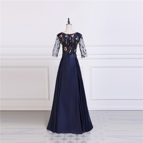 Satin Prom Dresses  A-Line Party Prom Dresses Embroidery Prom Dresses