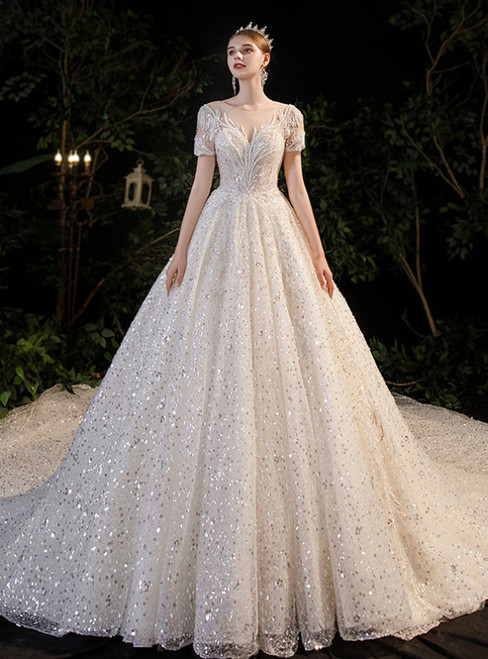 Ball Gown Sequins Short Sleeve Beading Backless Wedding Dress