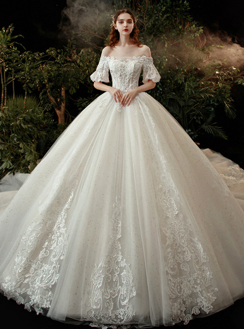 Ball Gown Tulle Off the Shoulder Appliques Puff Sleeve Wedding Dress