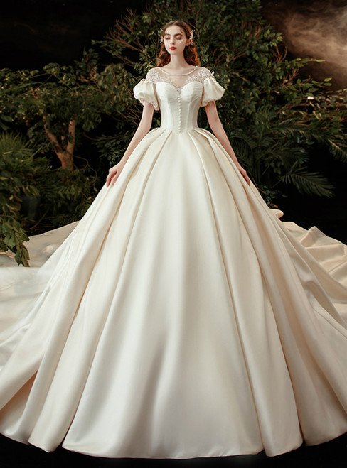 Dark Champagne Satin Puff Sleeve Lace Button Wedding Dress