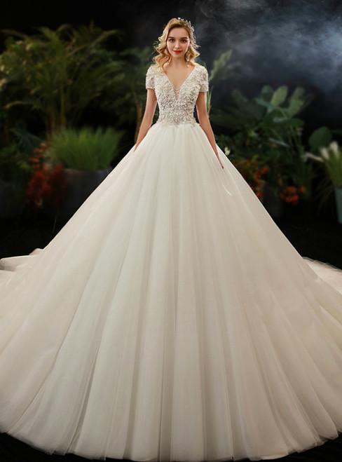 Tulle Deep V-neck Appliques Short Sleeve Appliques Wedding Dress