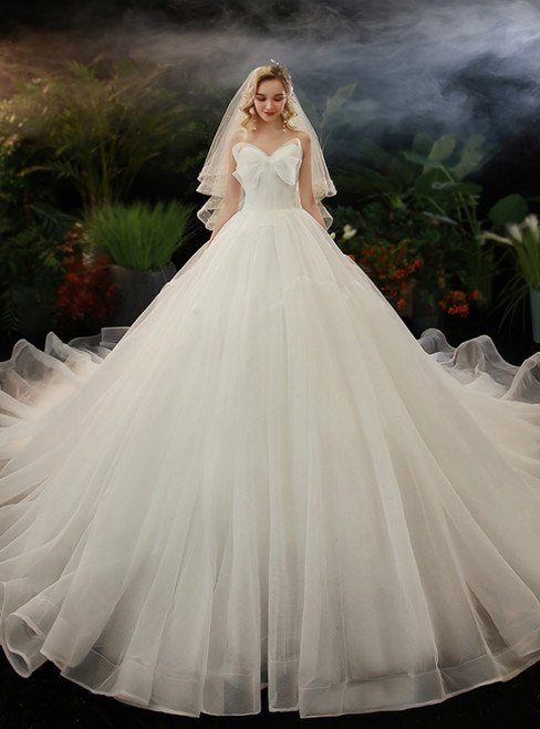 White Ball Gown Tulle Sweetheart Wedding Dress With Train