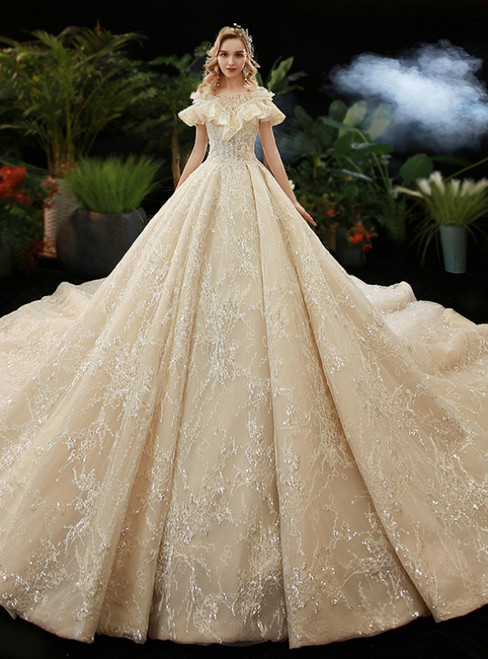 Dark Champagne Tulle Sequins Bateau Backless Beading Wedding Dress