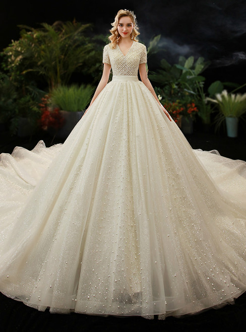 Champagne Tulle V-neck Short Sleeve Pearls Wedding Dress