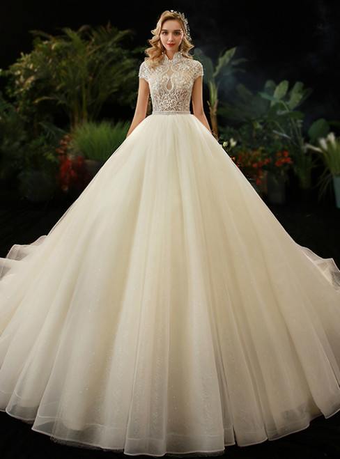 Tulle High Neck Cap Sleeve Backless Beading Wedding Dress