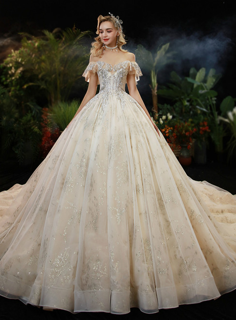 Fashion Champagne Tulle Sequins Off the Shoulder Beading Wedding Dress