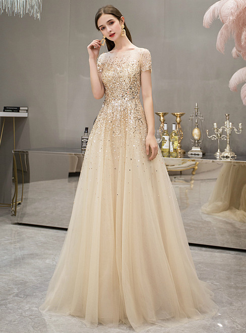 A-Line Tulle Cap Sleeve Beading Sequins Luxury Prom Dress