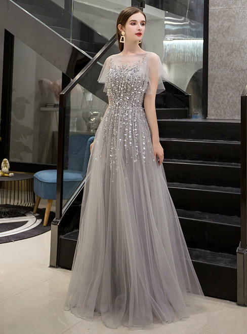A-Line Gray Tulle Short Sleeve Beading Sequins Prom Dress
