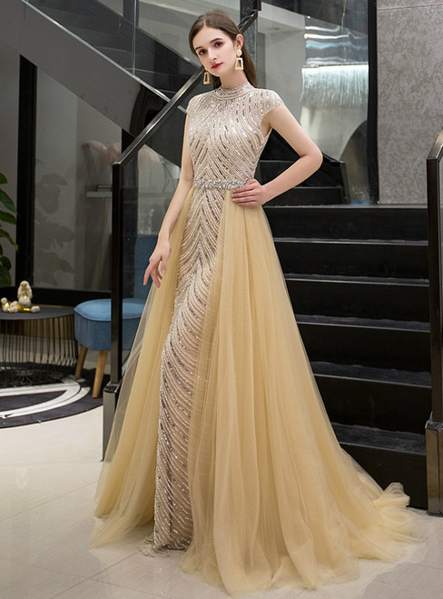 Gold Mermaid Tulle Cap Sleeve High Neck Beading Prom Dress