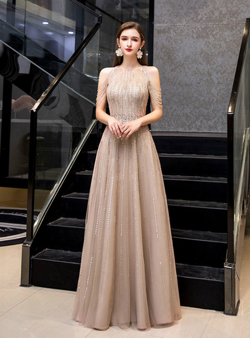 A-Line Champagne Tulle Sequins Beading Prom Dress