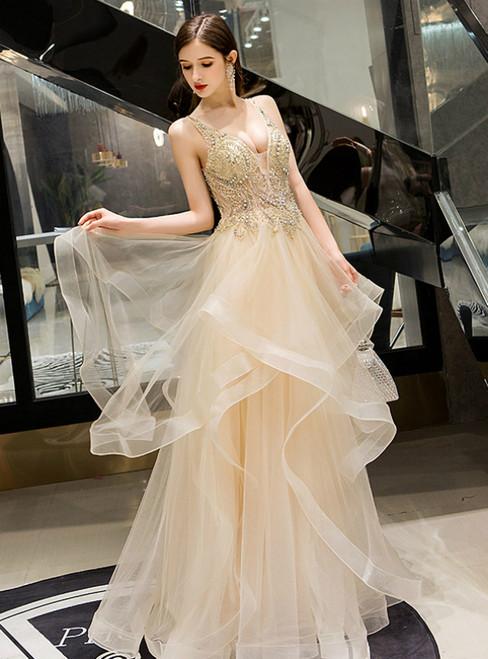 Champagne Tulle V-neck Sleeveless Beading Long Prom Dress