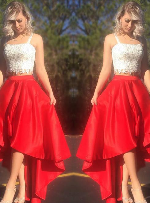 Lace Crop Top Satin Two Piece Hi Lo Appliques Elegant Prom Gowns