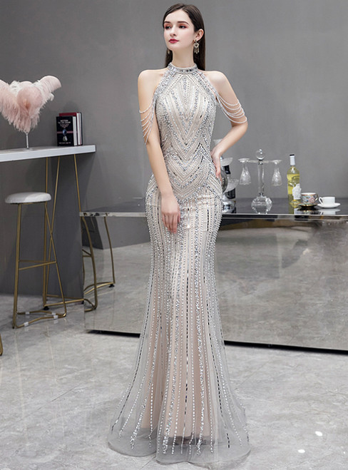 Champagne Gray Mermaid Sequins Halter Beading Crystal Prom Dress