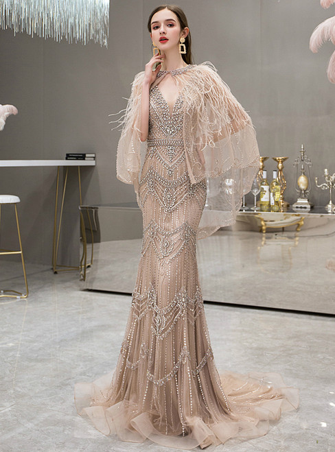 Champagne Mermaid Tulle V-neck Beading Handwork Prom Dress With Shawl