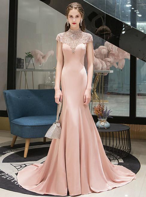 Pink Mermaid Satin Cap Sleeve High Neck Beading Prom Dress