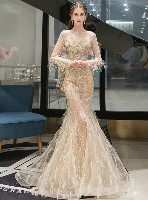 Gold Mermaid Tulle Feather Long Sleeve Handwork Prom Dress