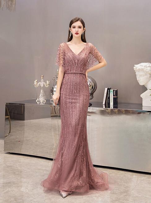 Luxury Pink Tulle Mermaid V-neck Bat Sleeve Beading Prom Dress