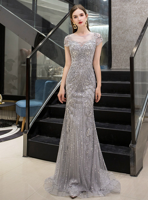 Silver Gray Mermaid Cap Sleeve Scoop Beading Sequins prom Dress