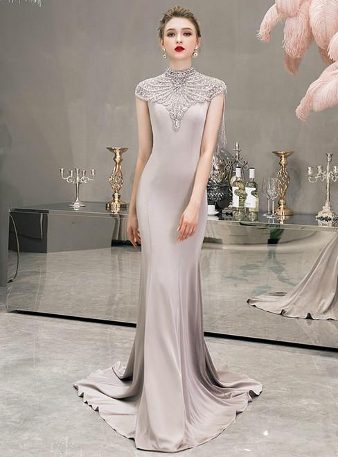 Gray Mermaid Satin Cap Sleeve High Neck Beading Prom Dress