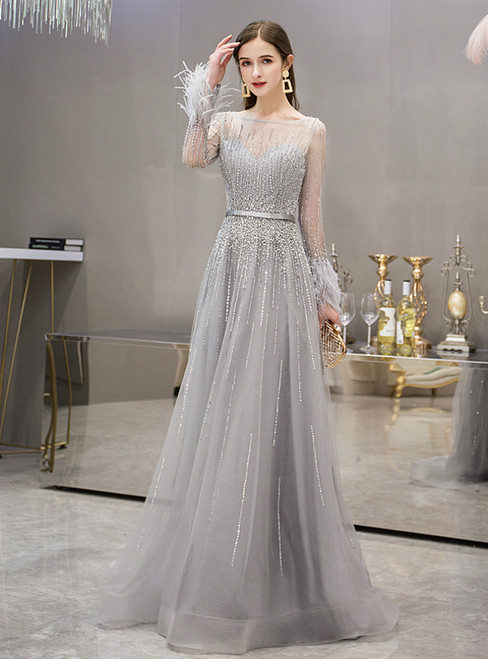 Silver Gray Tulle Long Sleeve Beading Feather Prom Dress