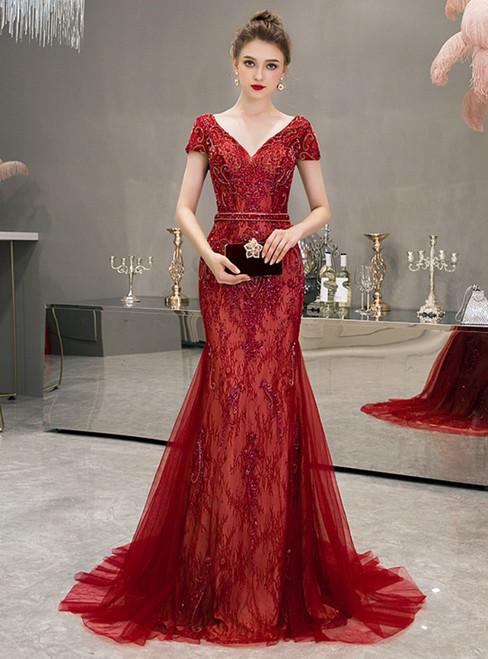 Burgundy Mermaid Tulle V-neck Cap Sleeve Beading Prom Dress