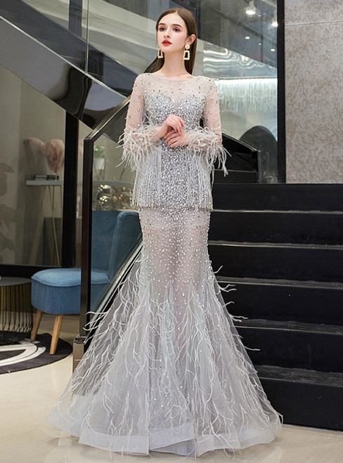 Silver Gray Mermaid Tulle Feather Long Sleeve Beading Prom Dress
