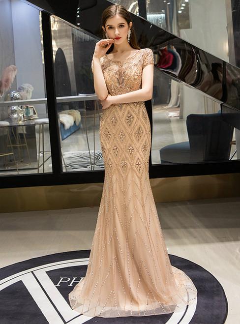 Gold Mermaid Tulle Beading Crystal Cap Sleeve Prom Dress