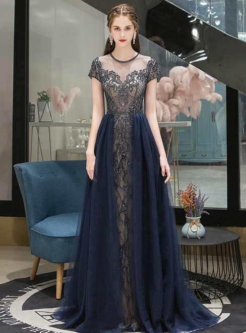 Navy Blue Tulle Cap Sleeve Beading Sequins Prom Dress