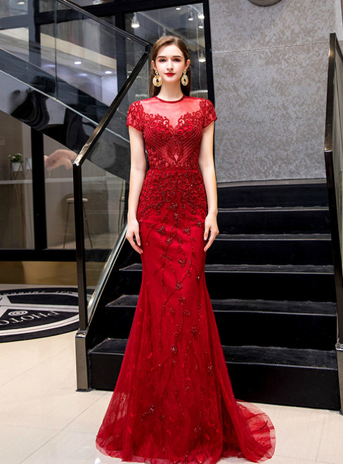 Red Mermaid Tulle Cap Sleeve Beading Sequins Prom Dress