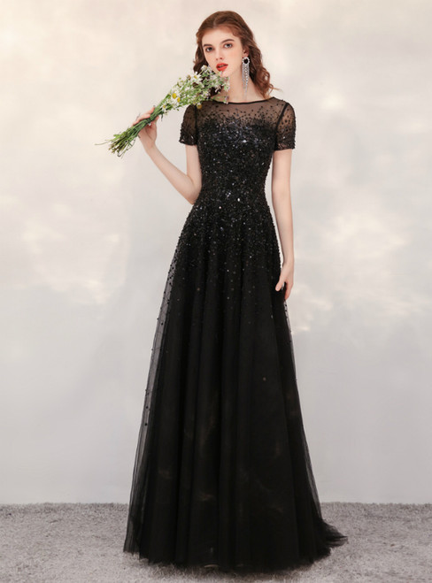 A-Line Black Tulle Cap Sleeve Beading Sequins Prom Dress