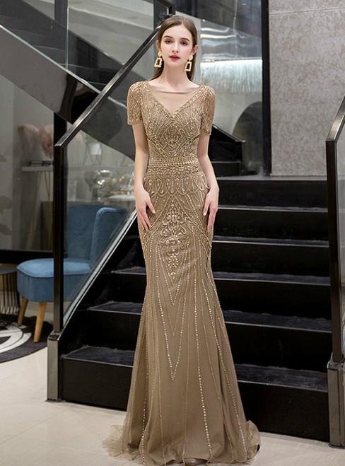 Brown Mermaid Tulle Short Sleeve Beading Sequins Prom Dress