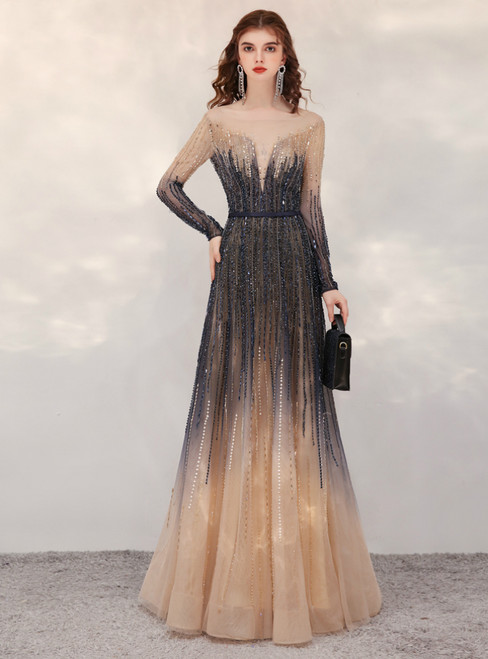 Champagne Gray Long Sleeve Beading Sequins Prom Dress
