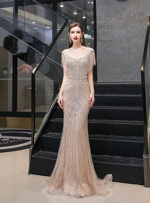Champagne Mermaid Tulle Cap Sleeve Bateau Tassel Beading Prom Dress